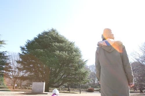 砧公園で子どもと遊ぶ